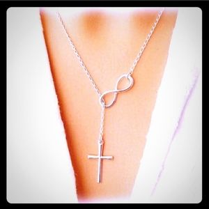 Cross & Infinity Silver dangle Necklace Choker